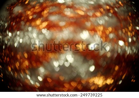white and bronze heart bokeh background