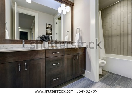 spacious bathroom gray tones heated floors stock photo 557515918