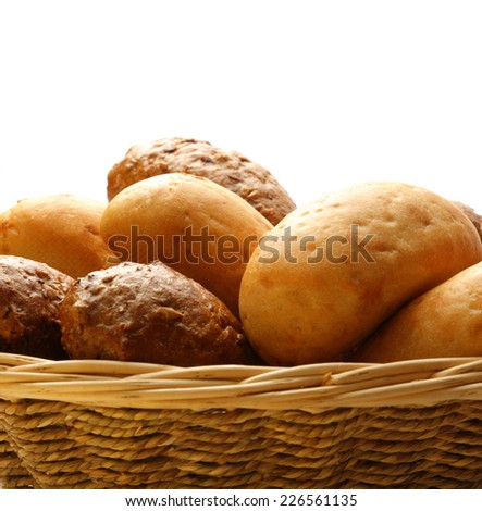 White and brown buns in basket