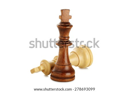white and brown chess kings isolated on white, chess concept - stock photo