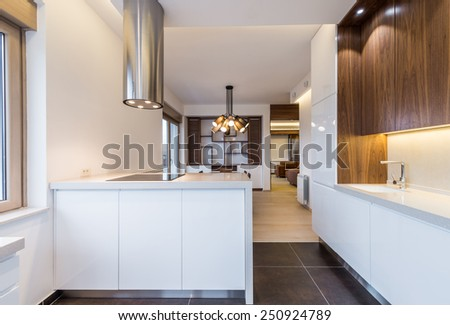 white and brown kitchen interior - stock photo