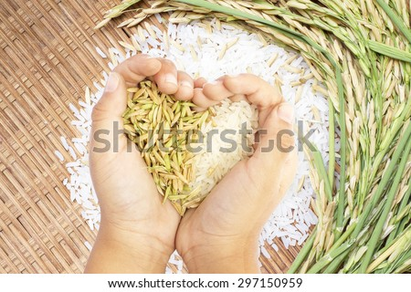 White and brown rice held in heart shaped hand over white rice background. - stock photo