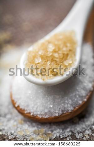 white and brown sugar  - stock photo