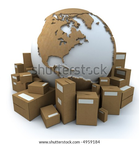 White and cardboard earth surrounded by big cardboard boxes - stock photo