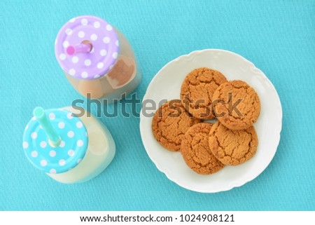 White and chocolate milk with ginger cookies shot from overhead in natural light