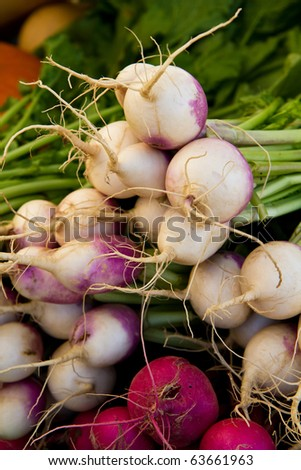 White and crimson turnips on display at a farmer's market - stock photo