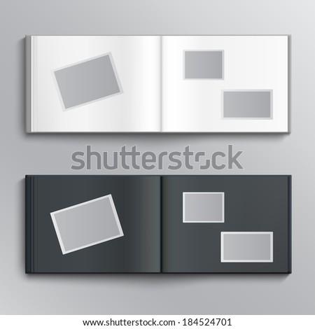 White and dark blanks of photo albums - stock photo
