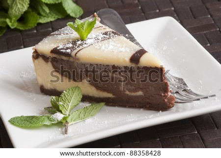 White and dark chocolate cheesecake - stock photo