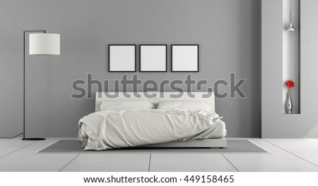 White and gray modern bedroom with double bed - 3d rendering
