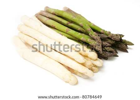 white and green asparagus on white background - stock photo