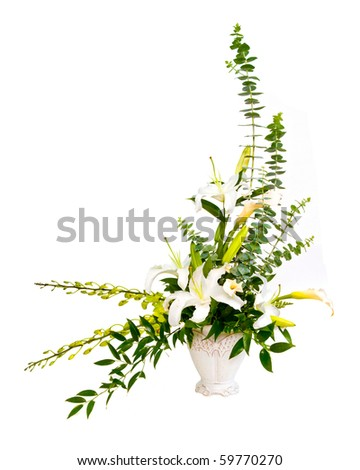 White and green flower bouquet arrangement in vase isolated on white. - stock photo