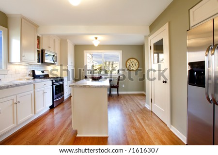 White and green gorgeous kitchen in an old craftsman house in Tacoma, WA - stock photo