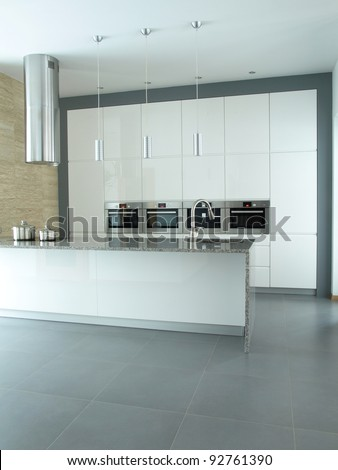 White and grey modern kitchen designers interior - stock photo
