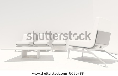 White and luminous interior with modern seat