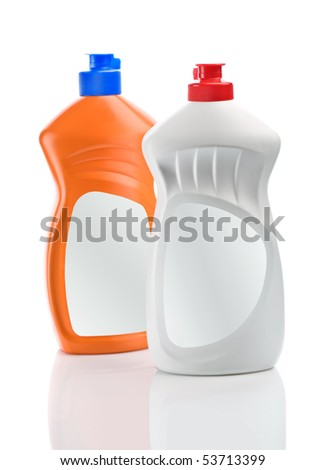white and orange bottle isolated