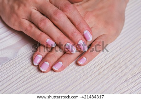 White Pink Nail Art On Wooden Stock Photo Royalty Free 421484317