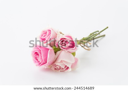 white and pink rose bouquet on white background - stock photo