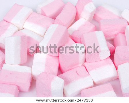 white and pink ssweet candies