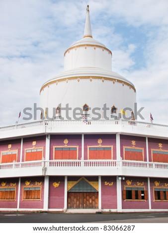White and Red Brick Pagoda Bangkok,Thailand - stock photo