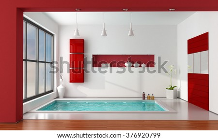 white and red contemporary bathroom with large bathtub - 3D Rendering - stock photo