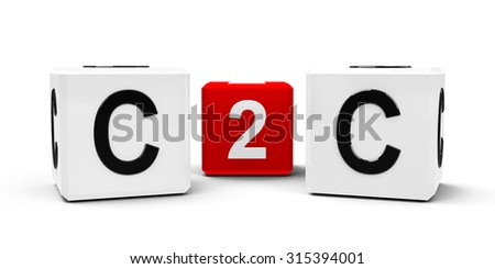 White and red cubes - consumer to consumer - isolated on white, three-dimensional rendering - stock photo