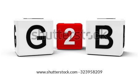 White and red cubes - government to business - isolated on white, three-dimensional rendering - stock photo