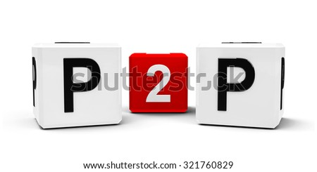 White and red cubes - peer to peer - isolated on white, three-dimensional rendering - stock photo