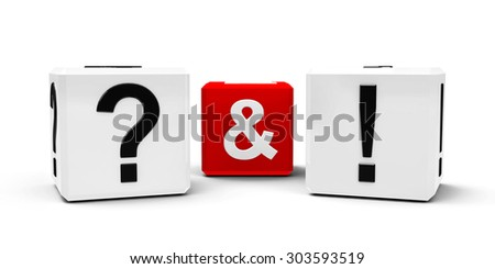 White and red cubes - question mark and exclamation point - isolated on white, three-dimensional rendering - stock photo