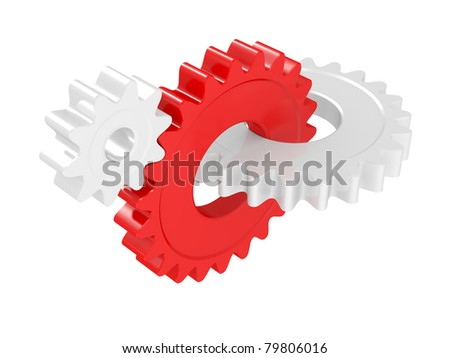 White and red gear isolated on a white background