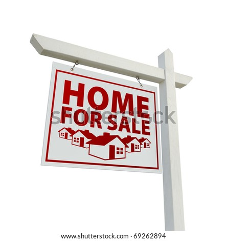 White and Red Home for Sale Real Real Estate Sign Isolated on a White Background. - stock photo