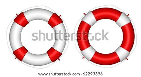 White and red life buoy - stock photo
