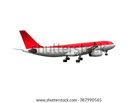 White and red passenger aircraft. This wide-body plane with gear and red gradient color of the Tail. - stock photo