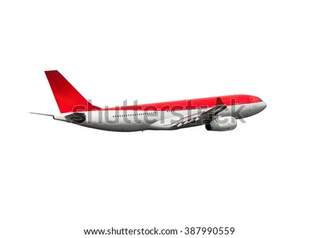 White and red passenger aircraft. This wide-body plane with gradient red color of the Tail. - stock photo