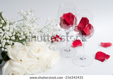 white and red roses - stock photo