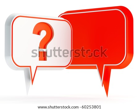 white and red speech bubbles with a question mark - stock photo