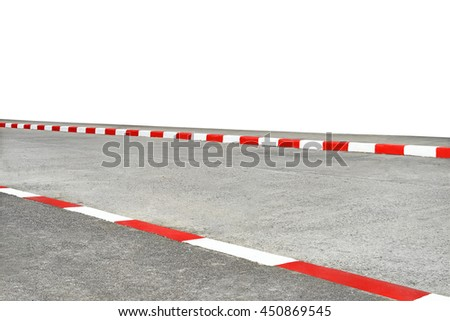 White and red strip no Parking Sign on Footpath road for advertising , with clipping path , isolated on white background