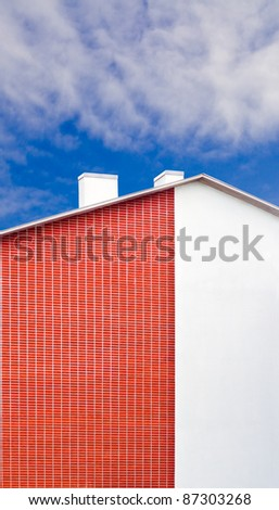 white and red wall of the house - stock photo