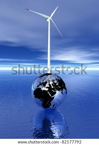 White and red wind turbine on an metallic earth upon the deep blue ocean and in cloudy sky