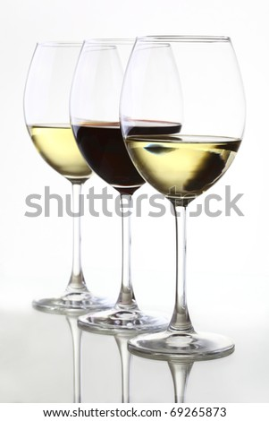white and red wine - stock photo