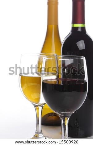 White and red wine bottles with two glasses