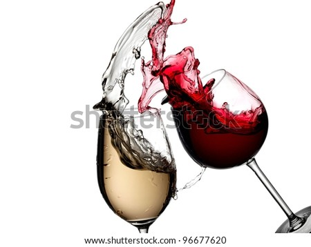 White and red wine splash