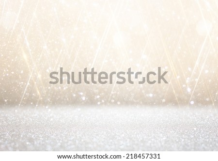 white and silver abstract bokeh lights. defocused background  - stock photo