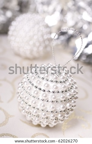 White and silver CHRISTMAS BALL - stock photo
