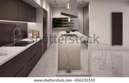 White and Violet Colors Contemporary Kitchen with Bar Counter top 3D rendering Camera  3 Evening - stock photo