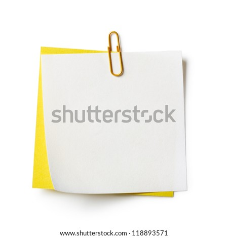 White and yellow note papers with paperclip on white background - stock photo