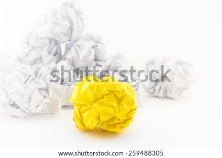 White and yellow paper balls