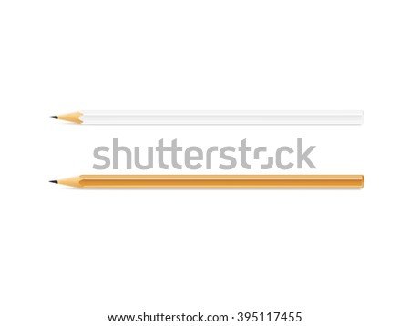 White and yellow pencil mockup lies isolated on background. School pen design mock up. Pencil style blank. Horizontal pencils. Plain wooden pencil. Wood pencil clear display. Pencil design simple set. - stock photo