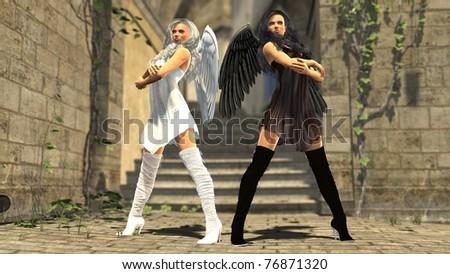 white anf black angel - stock photo