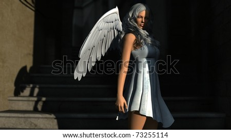 white angel in shadow - stock photo