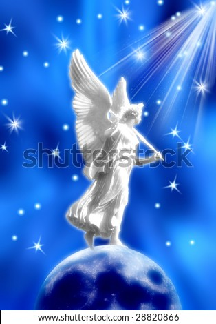 white angel standing on Moon over blue starry background - stock photo